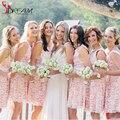 Pink Lace Bridesmaid Dresses Short Party Dress Mini Scoop Tank Vestido de festa curto Sash Chwap Gown 2016 Women Summer