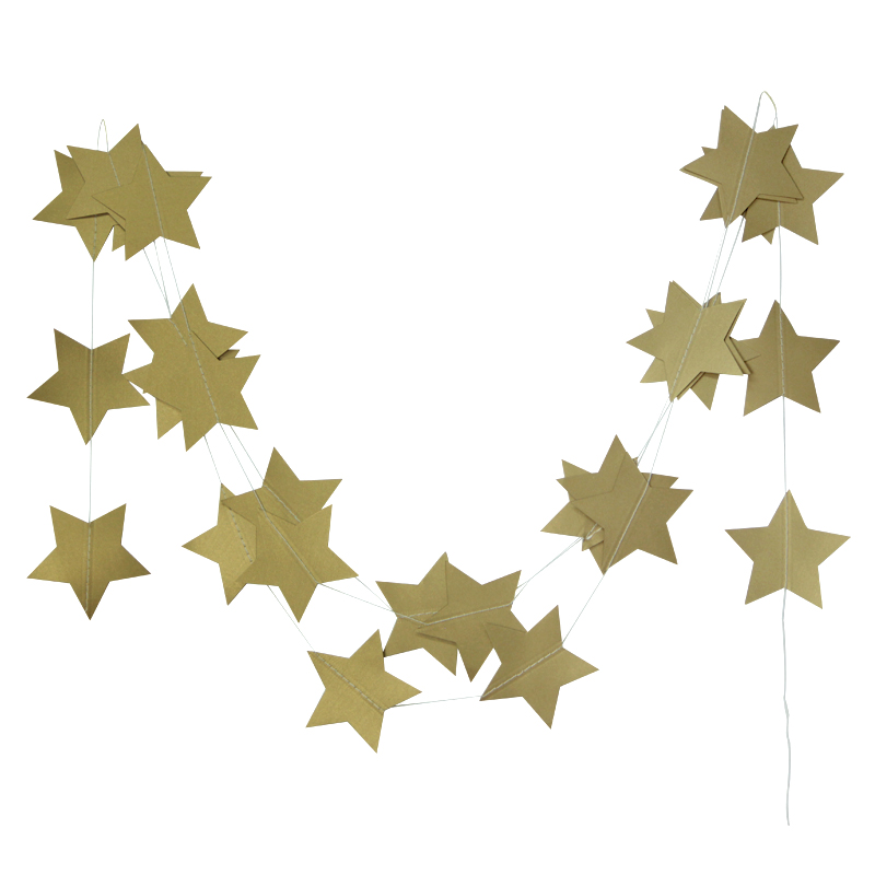 4m Gold Star Garlands til Windows Døråbning Ceiling Decors Wedding Decoration Showers Fødselsdagsfest dekoration