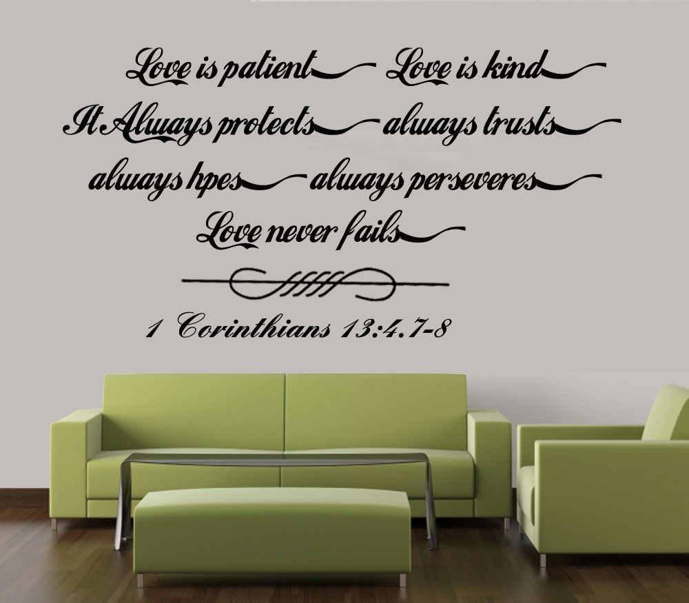 Wall Decal Sticker Quote Vinyl Large Love is Patient Kind Corinthians Bible Wallpaper Home Decoration 4 Sizes