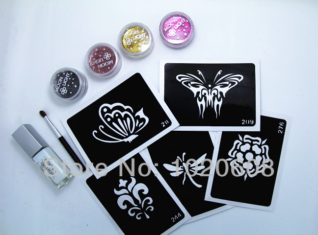 free shipping diy reusable glitter tattoo stencil 4 colors glitter tattoo kits with tattoo. Black Bedroom Furniture Sets. Home Design Ideas