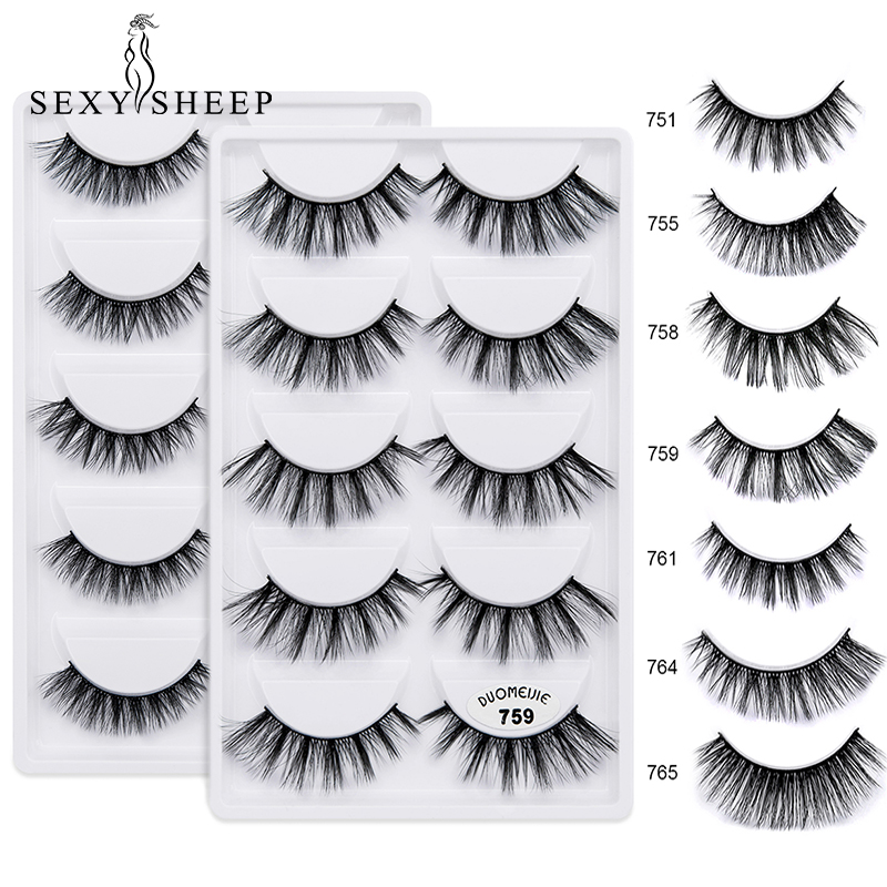 SEXYSHEEP 5 Pairs/lot Natural False 3D Mink Eyelashes Luxurious 3D False Eye Lashes Cross Natural Long Thick Lashes Beauty