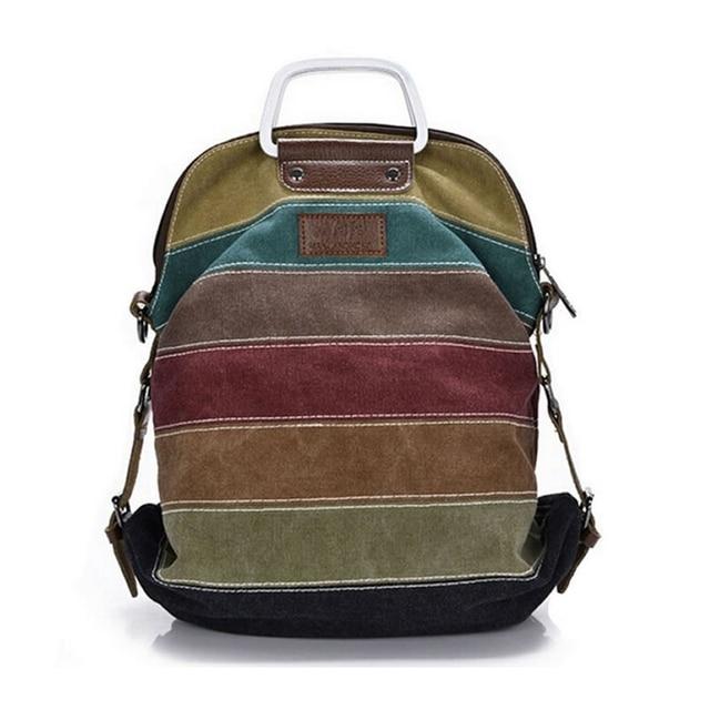 Ethnic Rainbow Women Backpack Canvas Stripe Rucksack Multifunction Girls Crossbody Bag Fashion School Bags Bolsas Mochila XA191l