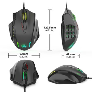 Image 5 - Redragon M908 12400 DPI השפעה משחקי עכבר 19 לתכנות כפתורים RGB LED לייזר Wired MMO עכבר דיוק גבוה עכבר מחשב גיימר