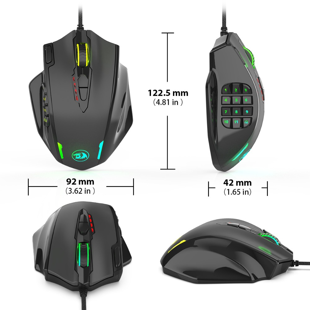 Redragon M908 12400 DPI IMPACT Gaming Mouse 19 Programmable Buttons RGB LED Laser Wired MMO Mouse