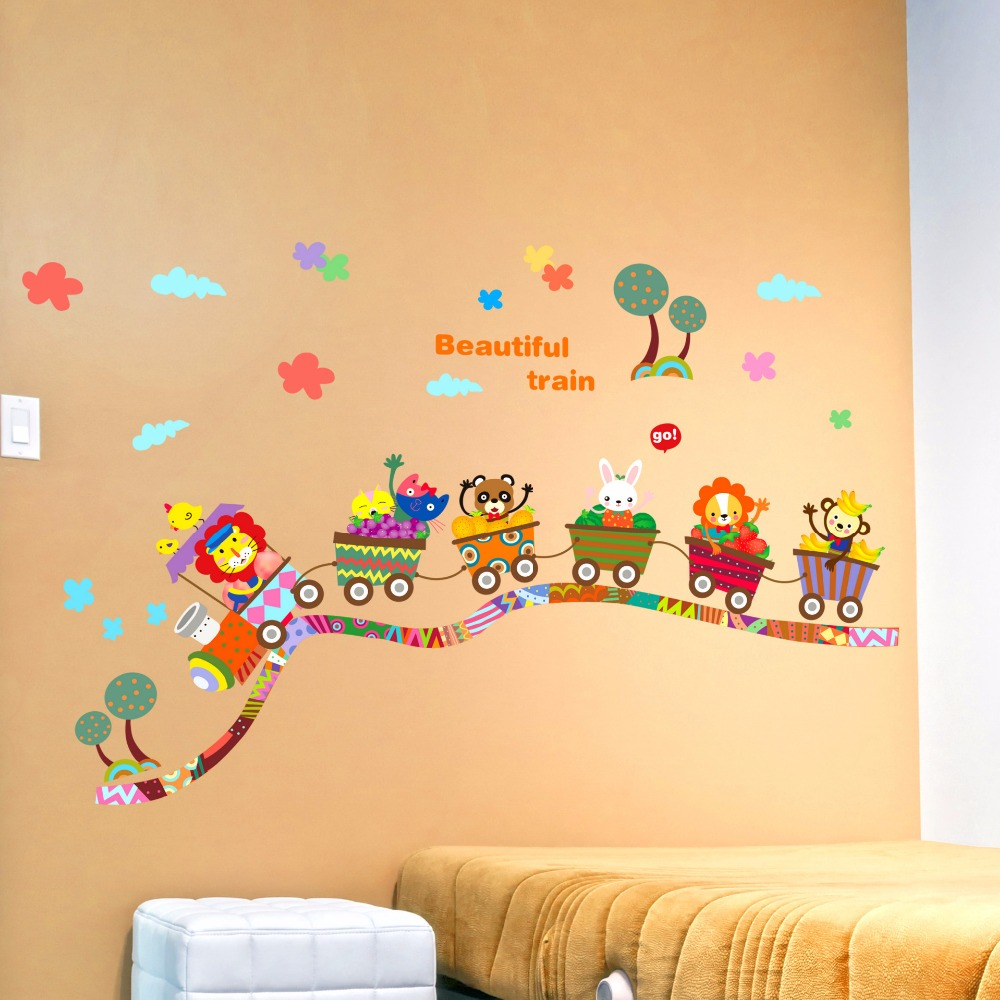 New Removable Children Theme DIY Cartoon Train Home Decoration Wall ...