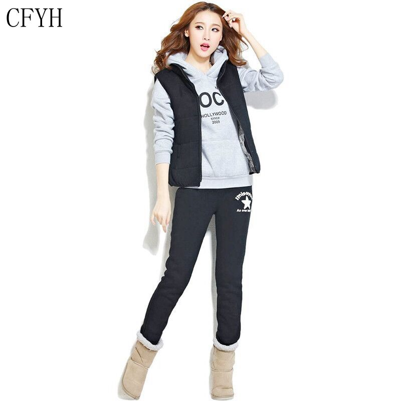 CFYH Women Sporting Suit Fashion Tracksuit Hooded Hoodies Casual Winter Letter Sportwear Sweatshirt+Vest+pant 3 piece set