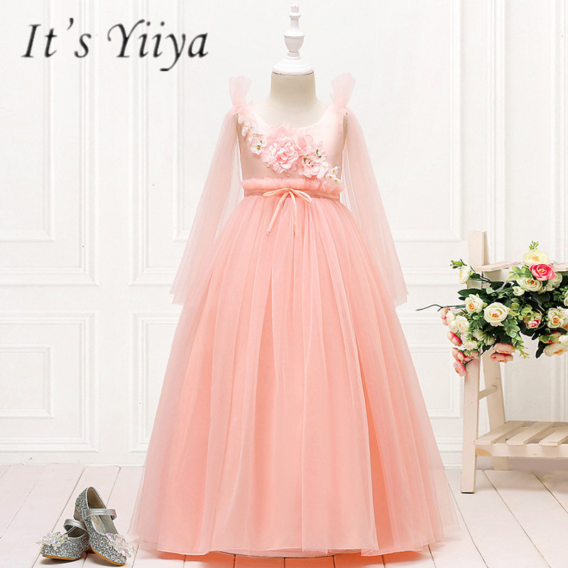 It's YiiYa   Flower     Girl     Dresses   5 Colors Sleeveless O-Neck Floor Length   Girls   Pageant   Dresses   Vestidos De Noches Para Ninas 152