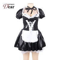 Comeondear Halloween Satin French Maid Adult Uniform Fancy Dress Costume Plus Size Costume Sexy Porno Cosplay Costumes CK80704