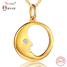 2018 New Strollgirl 925 Sterling Silver Round Shape with Moon Gold Pendants & Necklaces For Women Zirconia Fashion Jewelry Gifts