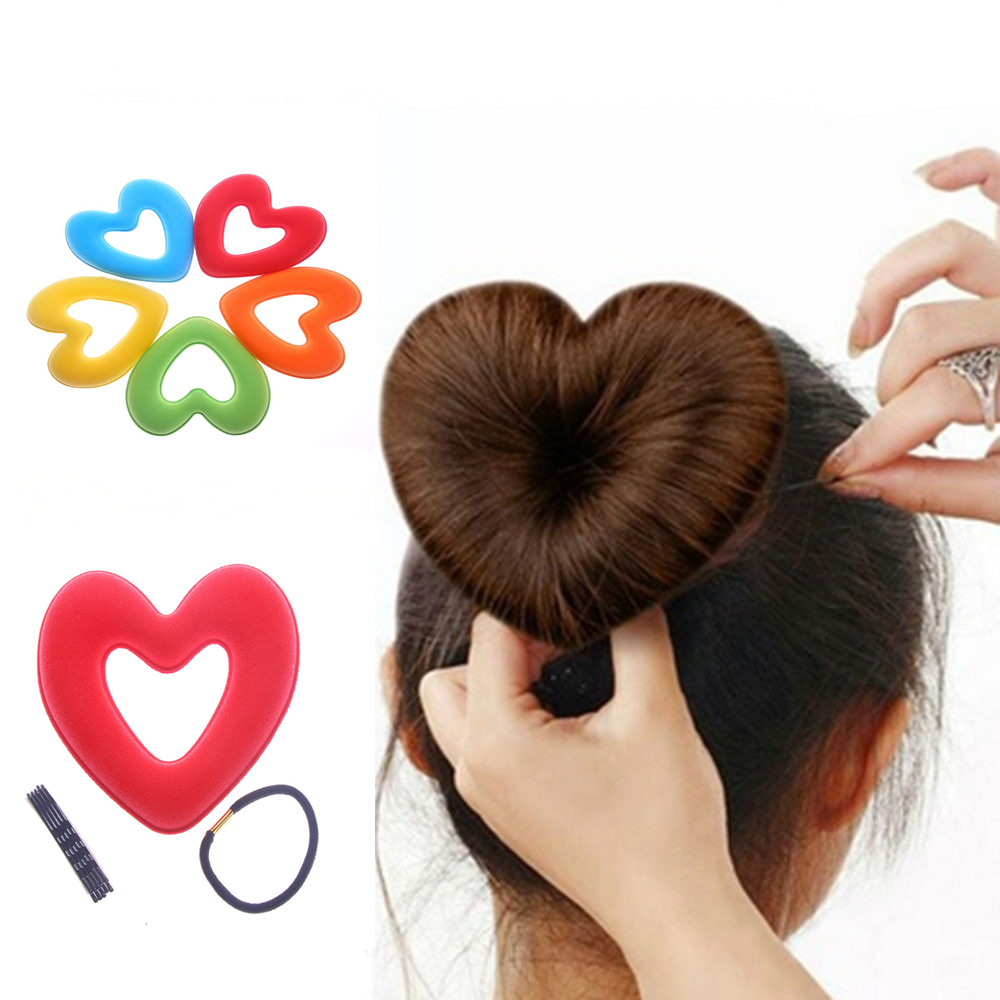 1set Hair Donut Bun Heart Maker Hot Magic Foam Sponge Headwear Disk Hair Device Bun Updo Accesories Hair Tool
