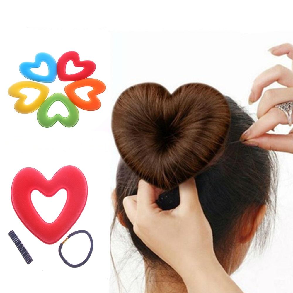 1set Hair Donut Bun Heart Maker Hot Magic Foam Sponge Headwear Disk Hair Device Bun Updo Accesories Hair Tool