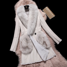 Women Real Fur coat Wool Fur big fox fur Turn-down Collar and pocket feminino Waistcoat long Sleeve Natural real fur coat jacket