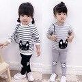 Novas crianças outono conjuntos de roupas de bebê das meninas do menino ternos de algodão define crianças casuais gato listrado camisola + conjuntos de calça esportes dos miúdos se
