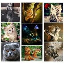DIY 5D Diamond Painting Cross Stitch circular Mosaic  Embroidery Cats tigers Needlework Patterns Rhinestone Paintings JK
