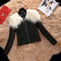 Зима черный Цвет Искусственного Меха Пальто женский вскользь Искусственная кожа пальто Jaqueta Де Couro Casaco Feminino Весте Ан Cuir Плюс размер 3XL