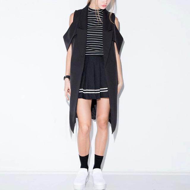 Nova Desigh brasão mulheres Vest elegante preto sem mangas Jacket de alta qualidade primavera mulheres casaco de forma magro mulheres casacos LBBM-C2343