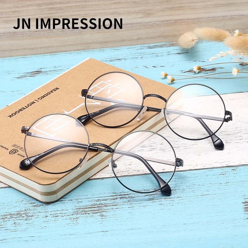 db4fc4b6fb Men women Round Sunglasses Retro Metal Frame Eyeglasses Korean Clear ...