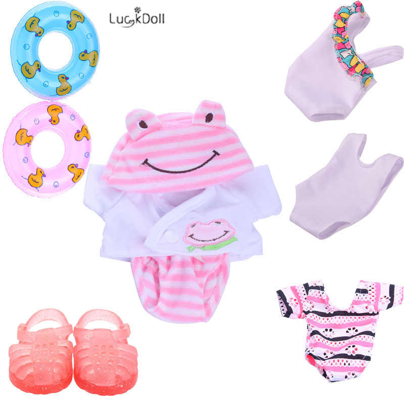 4 Styles Doll Clothes(Pink Frog Set,Doll Swimsuit) And Shoes Fit 14.5 Inch Wellie Wishers Doll-Accessories,Child's Toys