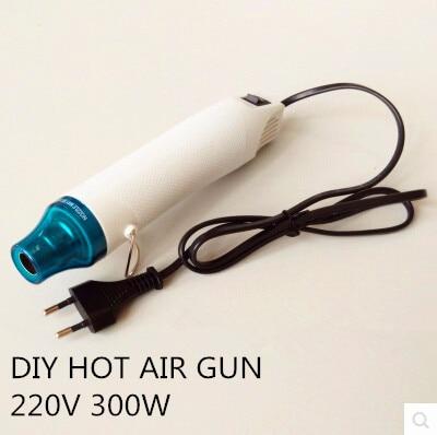 220V 300W pistola de aire caliente DIY arcilla de barro hecha a mano con pistola de calor Herramienta de energía eléctrica cabello que sobresale sello de goma rosa