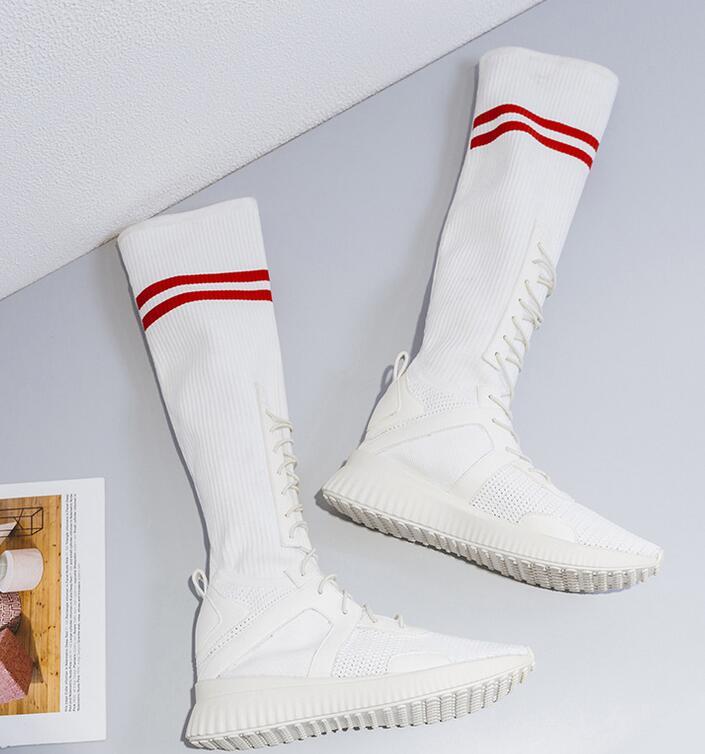 Maille Chaussures Bout blanc Taille Grande Rond De Femmes Noir Mi Avec Bande Étroite Doux Nouveau Plat Couleur mollet Mixte Bottes TlF1uKcJ3