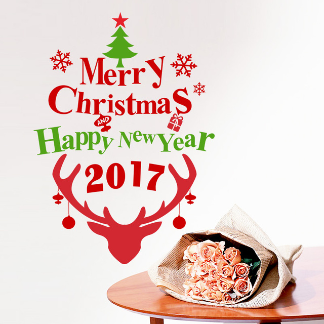 2017 Christmas Decoration Happy New Year Tree Deer Wall Sticker Decals Snowflake store window glass Poster Mural Wall Art