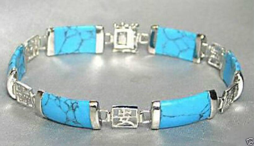 7eee9580f2d Consideravelmente Azul pedra 925 Sterling Silver Fortune Sorte Link Pulseira  e GRÁTIS