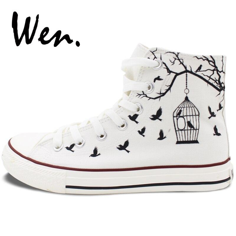 Wen dizajn ručno oslikano bijelo platno cipele ptica kavez muškarci - Tenisice - Foto 3