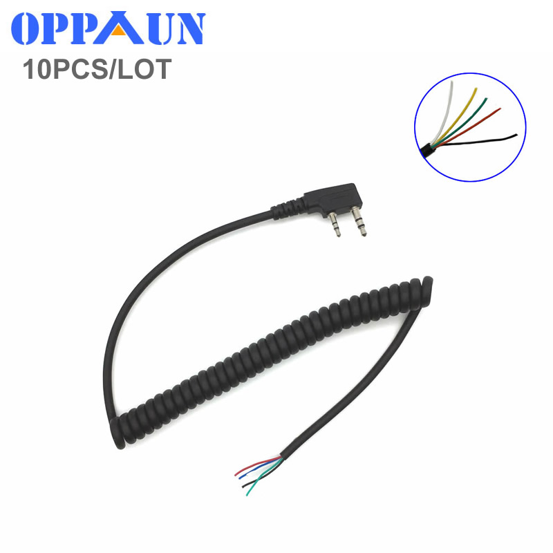 10PCS/LOT DIY 5wire Microphone Cable K Plug 2pins For Kenwood Wouxun Baofeng Puxing Lin Tontyt Quansheng Walkie Talkie