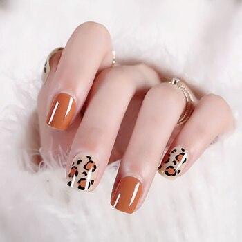 Señoras Sexy leopardo acrílico uña falsa tamaño corto funda completa de uña arte consejos con pegamento mujeres Simple Color naranja moda uñas falsas