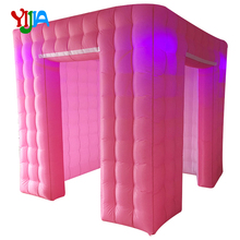 Romantic Wedding Pink outside and white inside inflatable photo booth lighting  inflatable tent  3m diameter blow up snow ball photo booth tent inflatable clear globe tent for christmas decoration