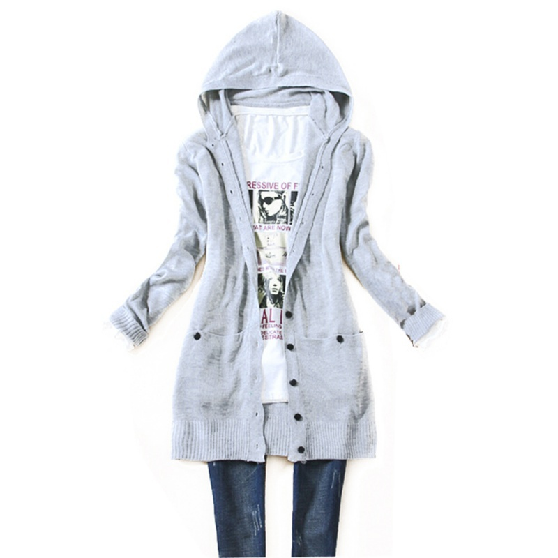 Autumn Women long sleeve knitted outerwear medium long hooded ...