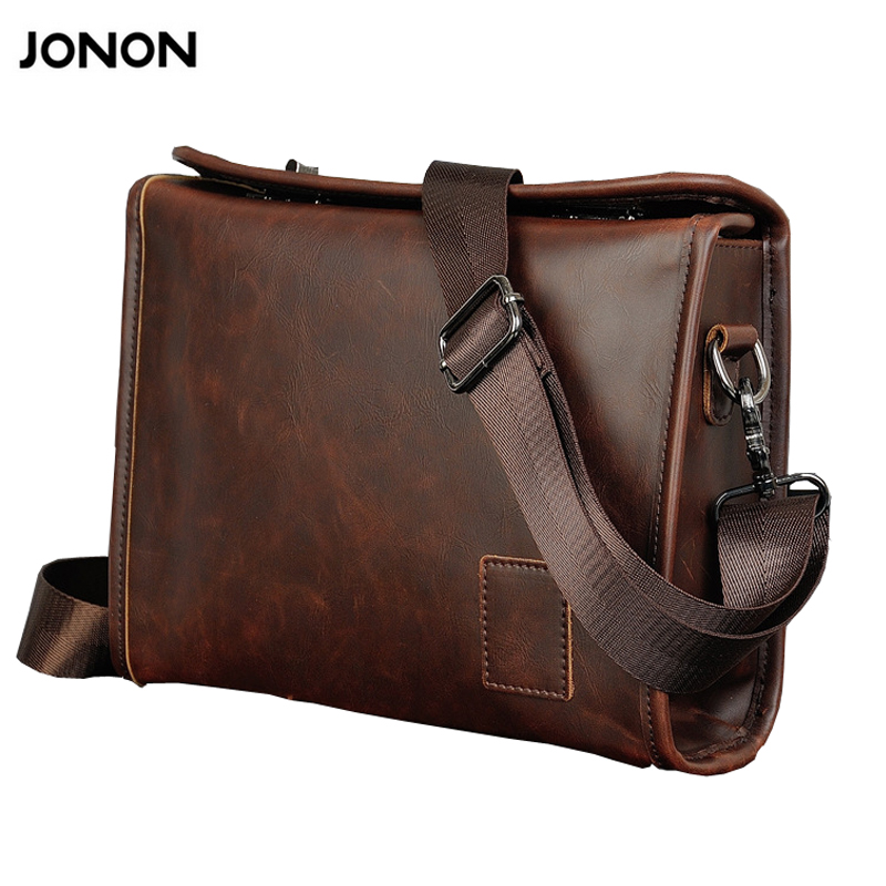 Jonon Vintage Men Briefcase Portfolios Office Bags Business Bag Messenger For Men Crazy Horse PU Leather Lock Brown Small lexeb brand lawyer briefcase vintage crazy horse leather men laptop bag 15 inches high quality office bags 42cm length brown