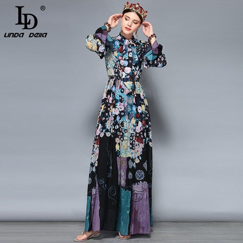 f9dad85d4d9f ... LD LINDA DELLA New Fashion Runway Maxi Dresses Women s Long Sleeve Bow  Collar Chiffon Floral Print ...