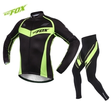 BATFOX Winter Full Sleeve Cycling Jersey Men Bike Jersey Polyester Fleece Cycling Clothing Breathable Quick Dry Bicycle Jersey