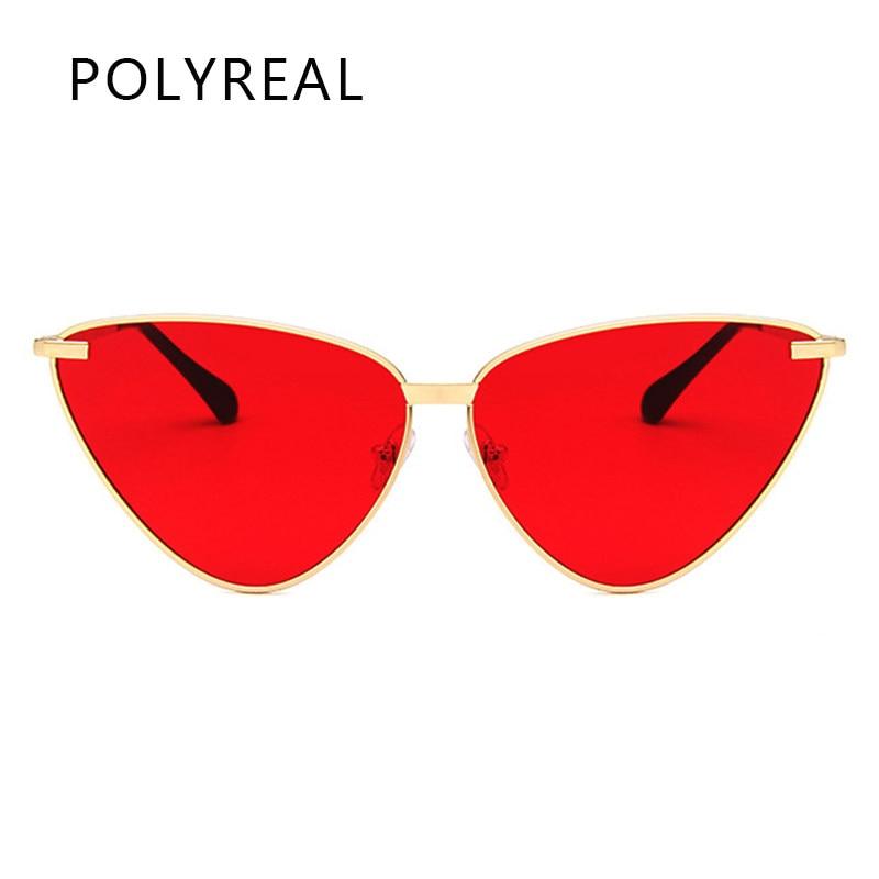 3558c5b33d60fc POLYREAL 2018 Nouvelles Femmes De Mode Cat Eye lunettes de Soleil Marque  Designer Femelle Miroir Nuances