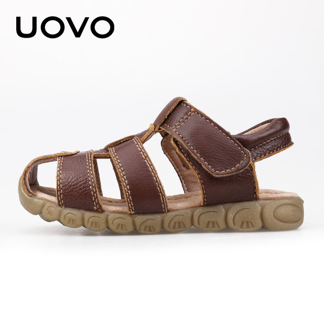 UOVO 2019 Summer Kids Shoes Brand Closed-Toe Toddler Boys Sandals Orthopedic Sport Leather Baby Sandals Boys Beach Shoes 21#-30# 1