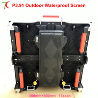 P3.91 waterproof 500*500mm outdoor die casting aluminum cabinet full color led screen rental display led video wall