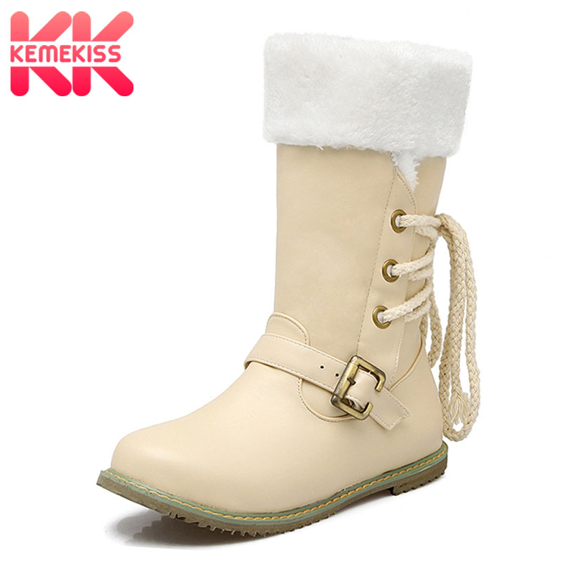 Kemekiss Footwear-Shoes Women Half-Short-Boots Round-Toe Calf Fashion Lace-Up Mid Buckle