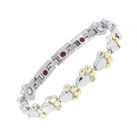 Fashion Magnet Women's Stainless Steel Paw Bracelets Bio Nagetive Ion Power Magnetic Hologram Energy Health Bracelet for Men's