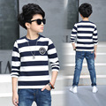 Kids Boys long-sleeved T-shirt 2017 Spring & Autumn new baby boy clothing big boy striped shirt 4/5/6/7/8/9/10/11/12/13 years