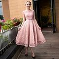 Nueva llegada formal partido vestidos de noche Vestido de Fiesta con cordones estilo largo vestido de encaje de perlas de té de longitud envío libre del vestido
