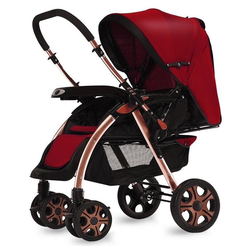 Deux voies poussoirs en alliage d'aluminium bébé poussette assis inclinable léger pliant enfant haute paysage portable poussette