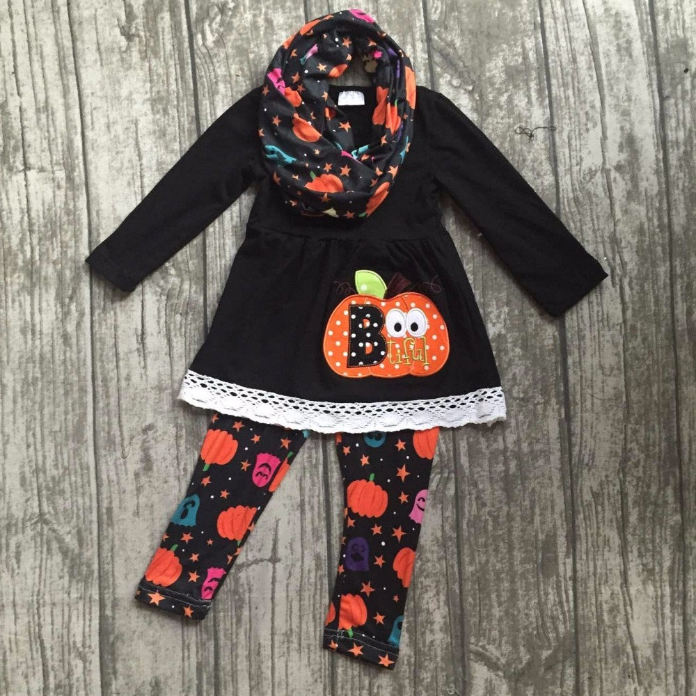 new arrival Halloween FALL/Winter baby girls outfits 3pieces scarf orange top pumpkin BOO pant boutique children cotton clothes special offer clothing baby girls halloween outfits boutique children small boves are so scary pant cotton sets match accessory