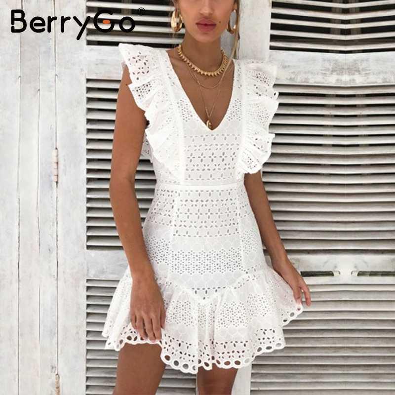 BerryGo אלגנטי לפרוע כותנה לבן נשים שמלת רקמה גבוהה מותן קיץ שמלה מזדמן בציר קצר מפלגת שמלות גבירותיי