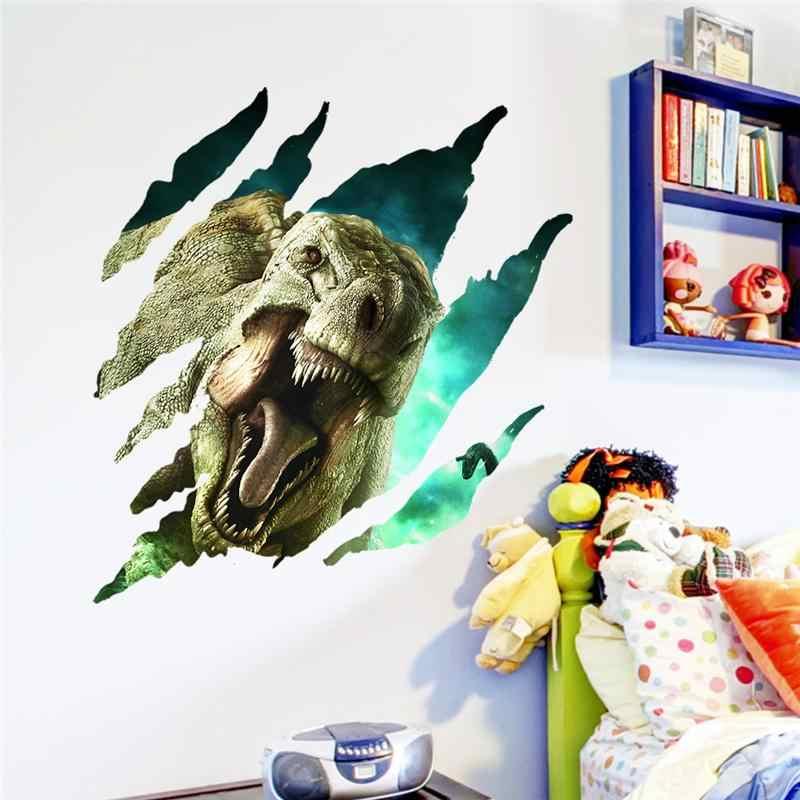 3d эффект динозавры сломанное отверстие наклейки на стену для детей комнаты украшения дома ПВХ сафари настенные наклейки мультфильм Животные; настенная роспись