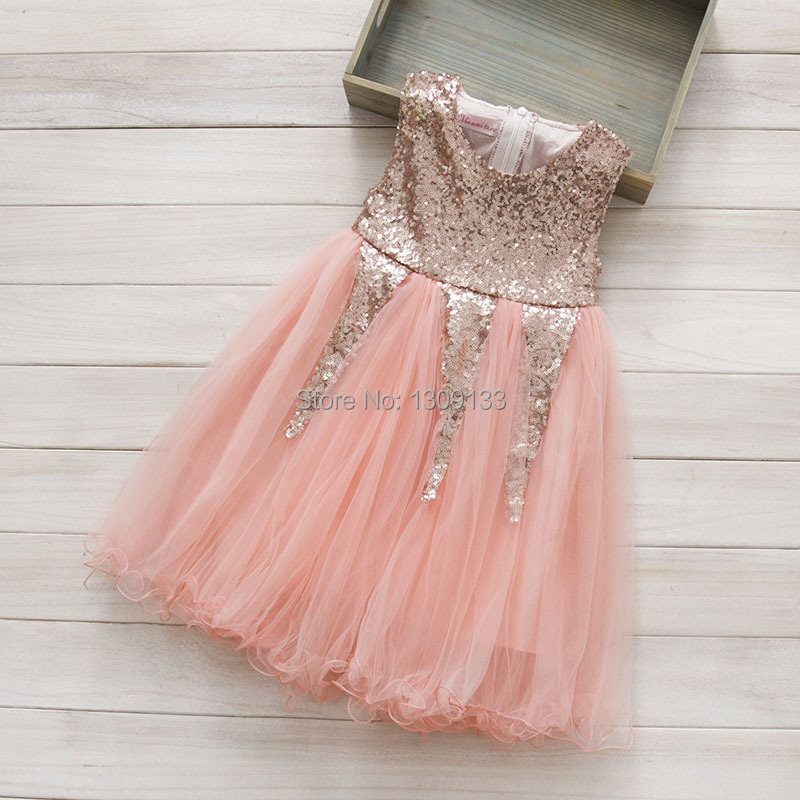 Buy pink gold sequin flower girl dress for Pink and gold wedding dress