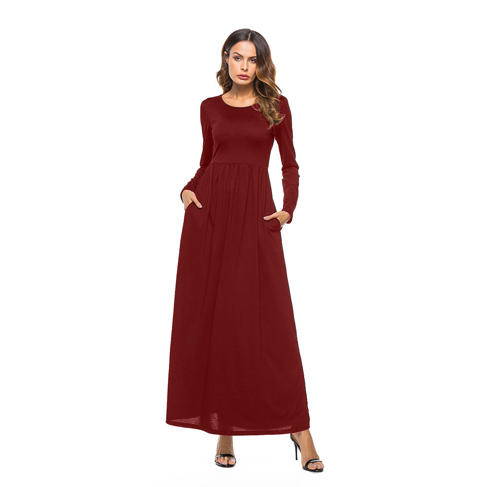 2018 NEW Arrival Sexy Women Dress Solid Pocket O Neck Long Sleeve Dress  Fashion Party Bridesmaids 308fc275ed77