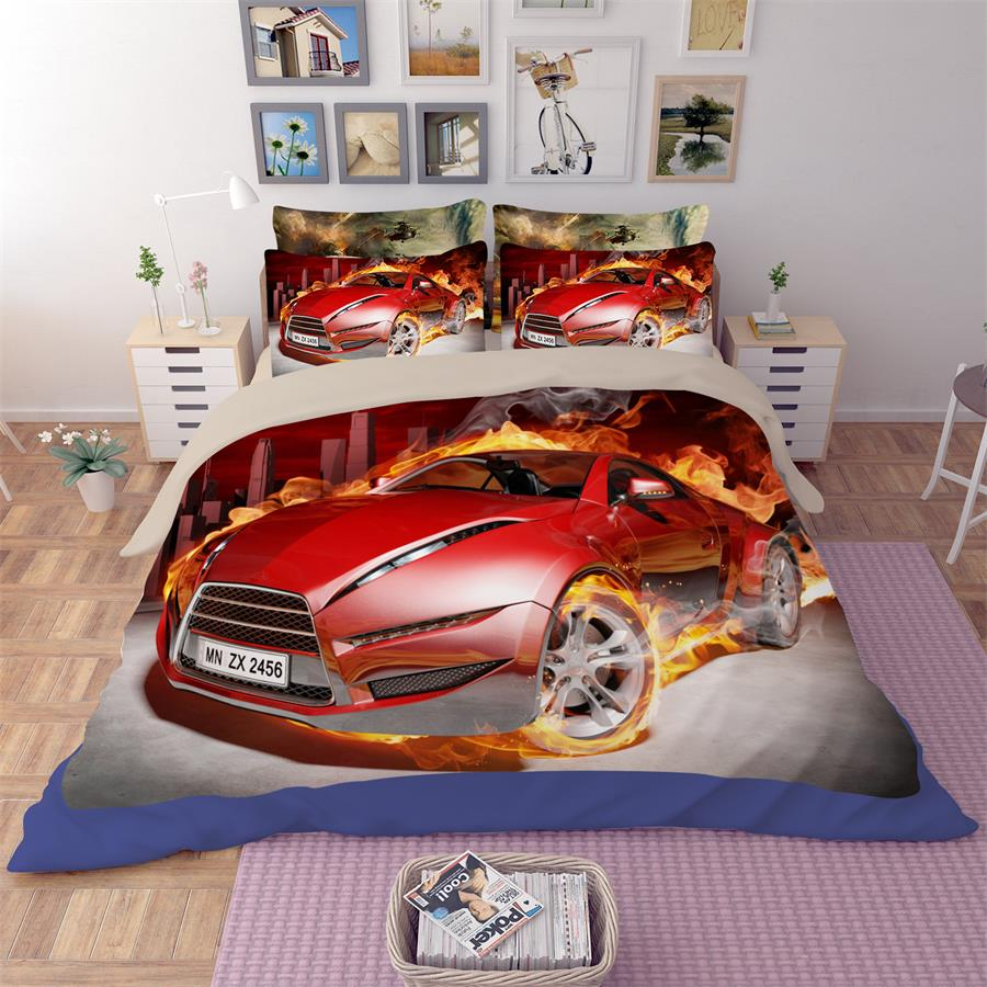 3D Flame Sportscar Red Race Car Print Bedding Set Twin Queen King Size Bed Sheets Pillowcase Duvet Cover Modern Home Textiles3D Flame Sportscar Red Race Car Print Bedding Set Twin Queen King Size Bed Sheets Pillowcase Duvet Cover Modern Home Textiles