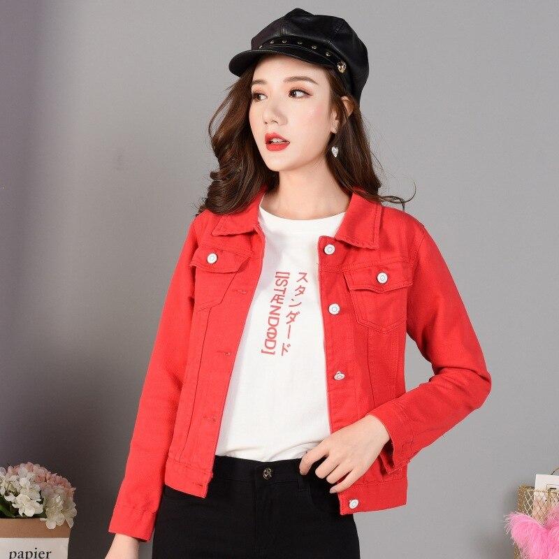 Denim   Jacket   Coat Casual Jean   Jackets   Candy coat short   jacket   Female   Basic   Autumn Windbreaker Pockets Slim Lady Clothing