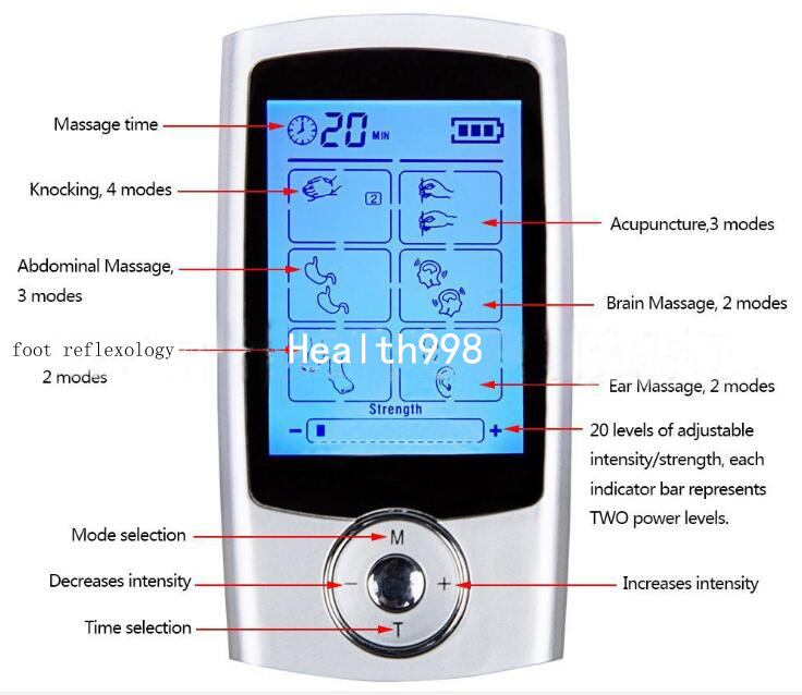 5pc/lot Hand-held 16 Modes EMS Muscle Digital MINI Full Body Massager Low frequency Electronic Acupuncture For Physical Therapy 2017 hot sale mini electric massager digital pulse therapy muscle full body massager silver